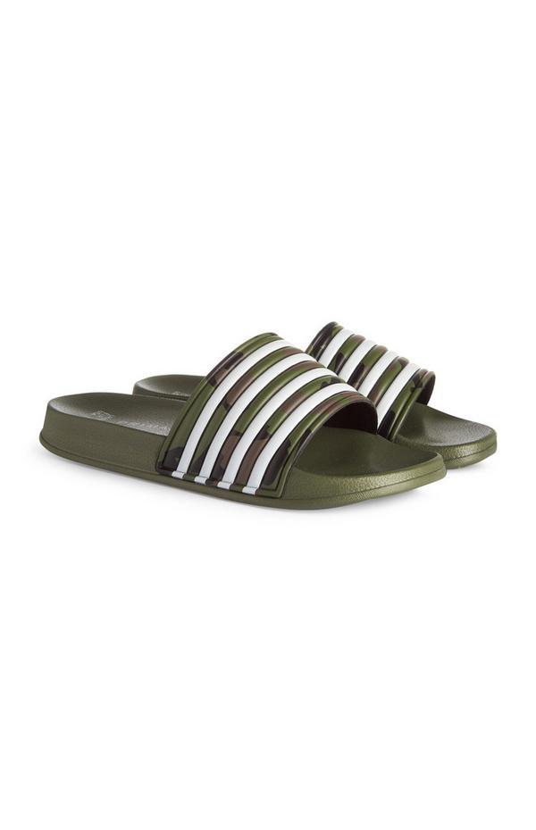 Older Boy Olive Striped Slides