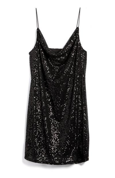 Vestido mini alças lantejoulas decote drapeado preto