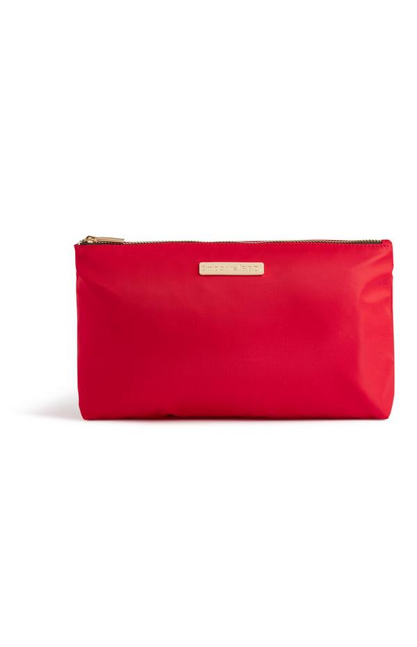Trousse de toilette rouge en nylon
