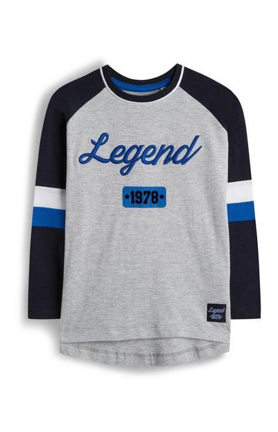T-shirt Legend grigia con maniche raglan blu navy da bambino