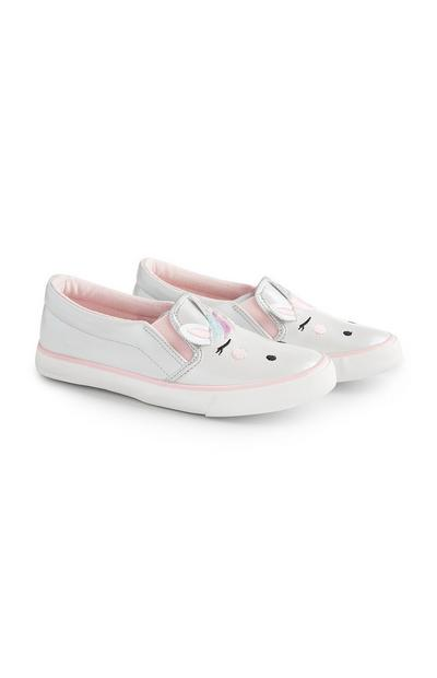 Younger Girl Unicorn Slip On Trainers