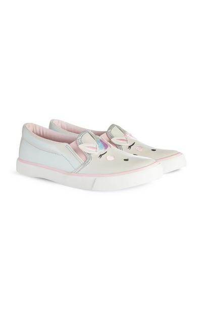 Younger Girl Blue Unicorn Shoes