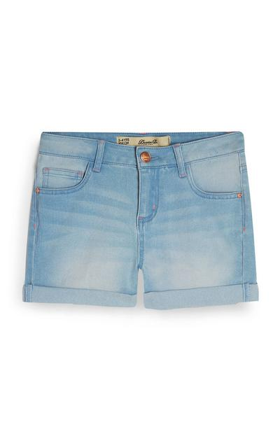 Shorts azzurri in denim da bambina
