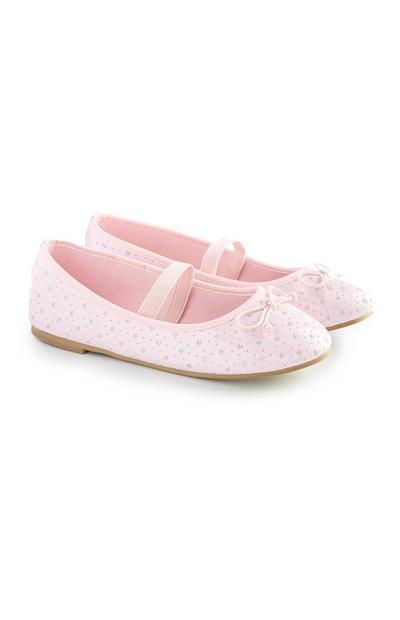 Younger Girl Pink Lasercut Ballerina Shoes