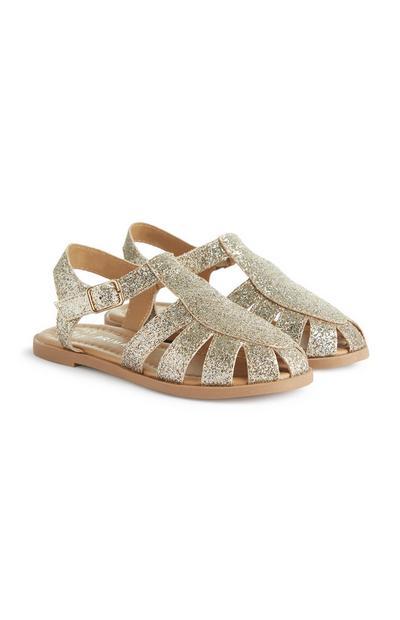 Younger Girl Gold Gladiator Glitter Sandals