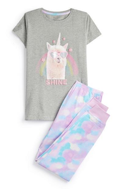 Conjunto pijama lama unicórnio rapariga