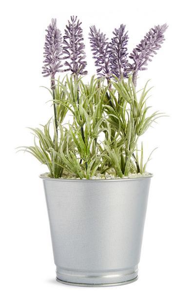 Vaso planta alumínio lavanda artificial