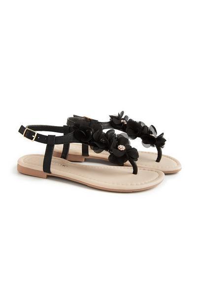 Black Flower Gem Sandal