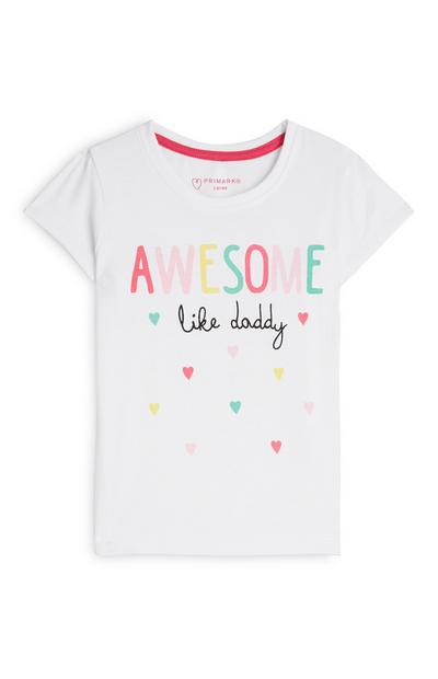 Baby Girl White Awesome Slogan T-Shirt
