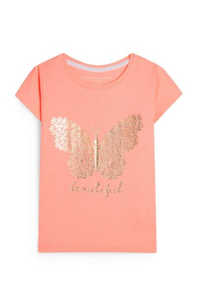 Camiseta color coral con estampado de mariposa y mensaje «Beautiful» para bebé niña