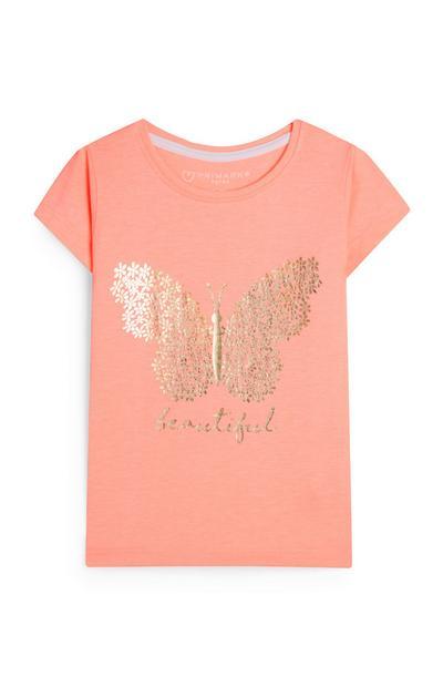 T-shirt corail à imprimé papillon et message Beautiful bébé fille