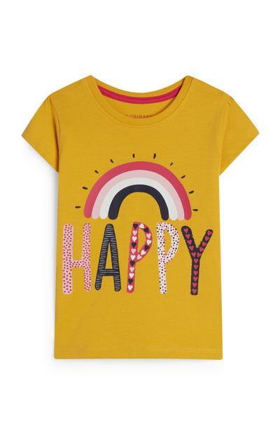 T-shirt jaune moutarde à imprimé arc-en-ciel et message Happy bébé fille