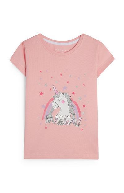 T-shirt rose licorne à message Magical bébé fille