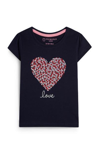 Baby Girl Navy Love Heart Print T-Shirt