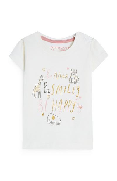Baby Girl Ecru Be Nice Animal Print T-Shirt