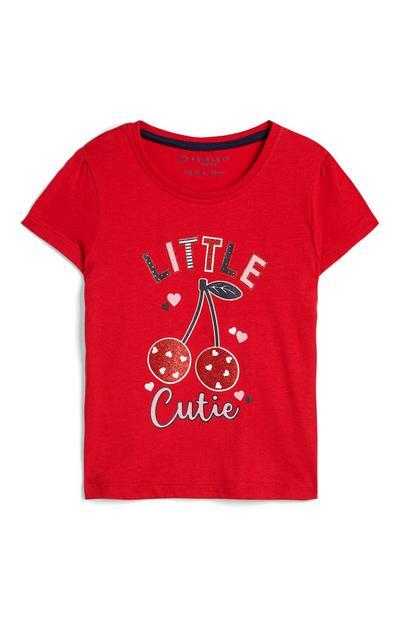 Baby Girl Red Little Cutie Cherry Print T-Shirt