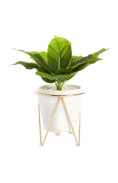 Suporte vaso planta folha artificial branco