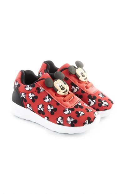 Younger Boy Red Mickey Mouse Trainers