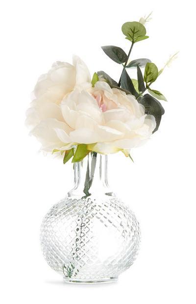 Textured Glass Faux Flower Vase
