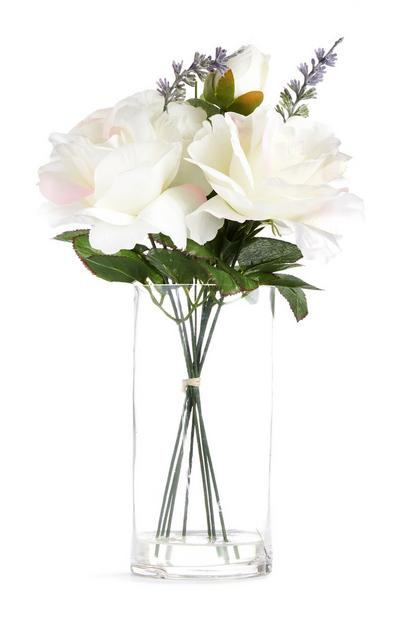 Large Glass White Faux Flower Vase