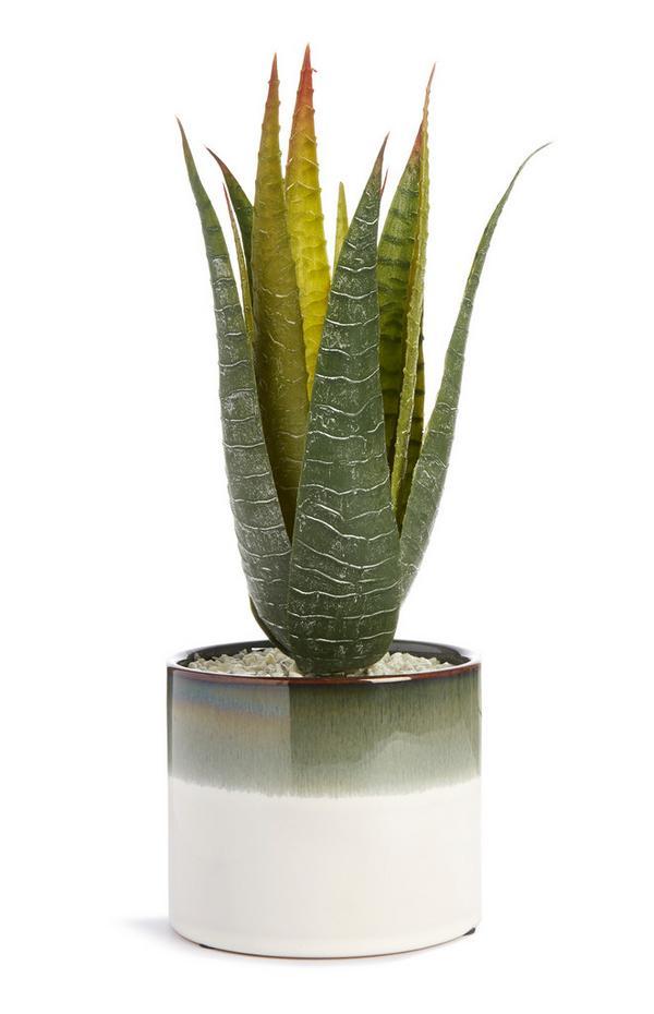 Plante artificielle avec pot bicolore