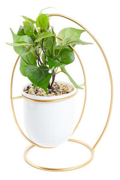 Pot de plante artificielle avec suspension blanc et doré