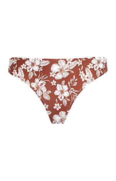 Slip bikini terracotta a fiori combinabili