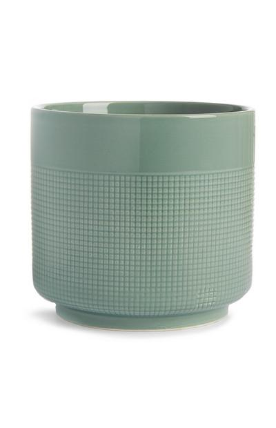 Vaso grande de cerâmica verde