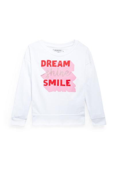 Younger Girls White Crew Neck Slogan Sweater
