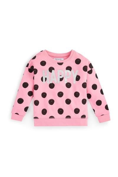 Younger Girl Pink Polka Dot Crew Neck Pullover
