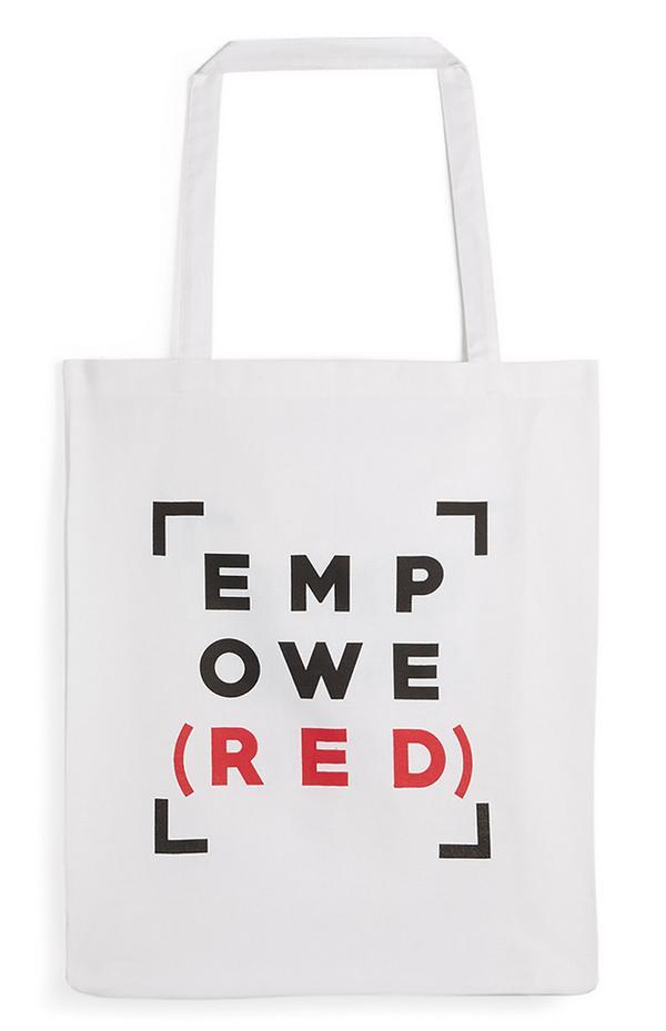 Bolso tote de tela con lema en rojo y negro «Empowe(red)»