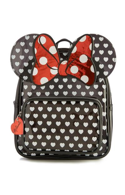 Black Minnie Mouse Heart Print Backpack