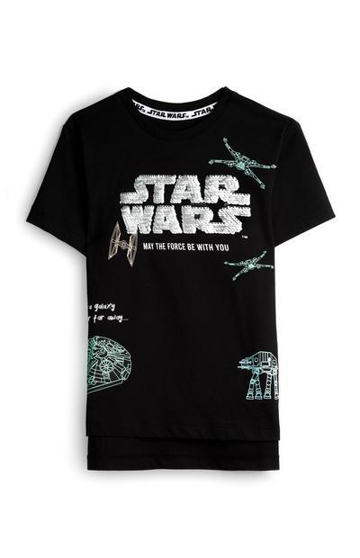 Zwart T-shirt Star Wars met pailletten, jongens