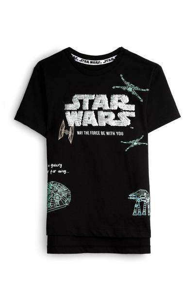 """Schwarzes """"Star Wars"""" Pailletten-T-Shirt (kleine Jungen)"""