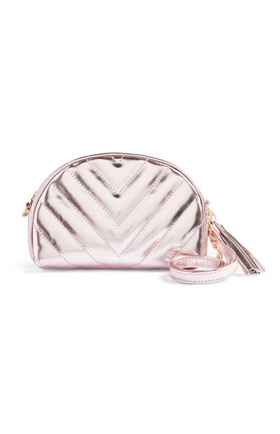 Metallic Pink Quilted Crossbody Bag