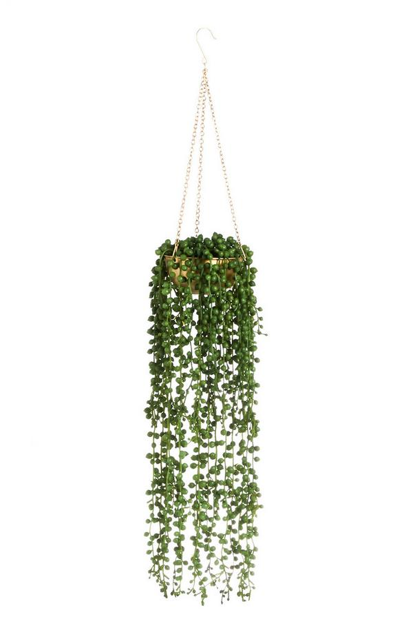 Gold Faux Hanging Plant