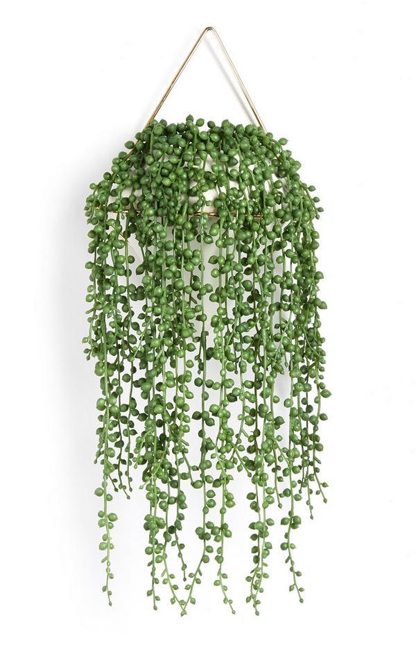 Plante artificielle retombante avec pot blanc
