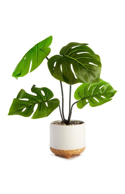 Large Leafy Faux Plant In White Pot