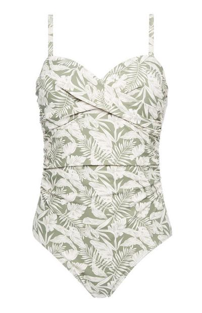 Green Palm Print Swimsuit
