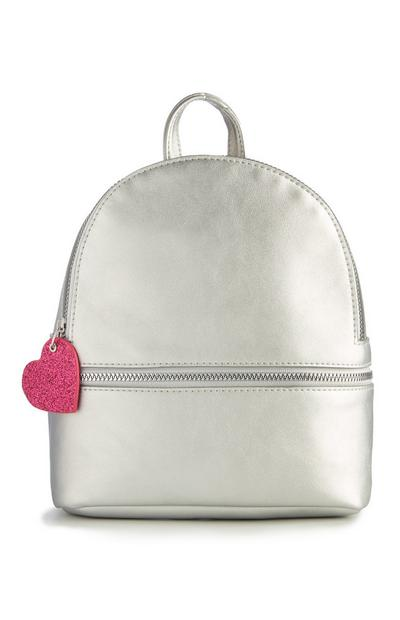 Silver Heart Zip Backpack
