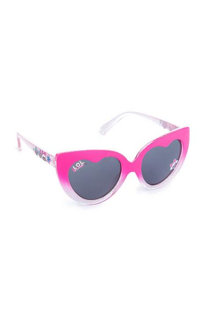 Younger Girl Pink Heart Shaped LOL Dolls Sunglasses