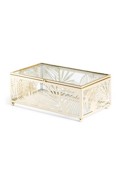 Boîte à bijoux avec motif feuilles découpé au laser