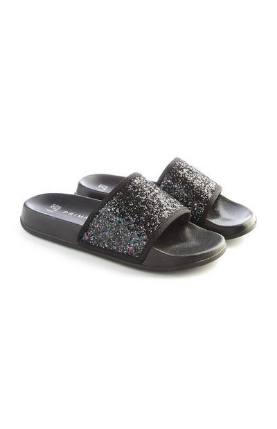Older Girl Black Glittery Sliders