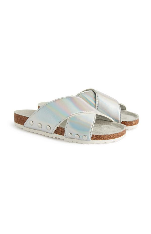 Older Girl Silver Metallic Crossover Sandals