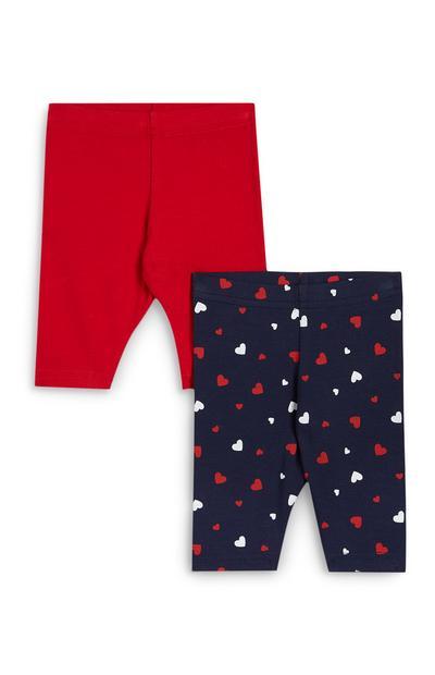 Pack 2 leggings curtas estampado corações menina vermelho