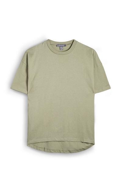 T-shirt color kaki a maniche corte con orlo arrotondato più lungo dietro