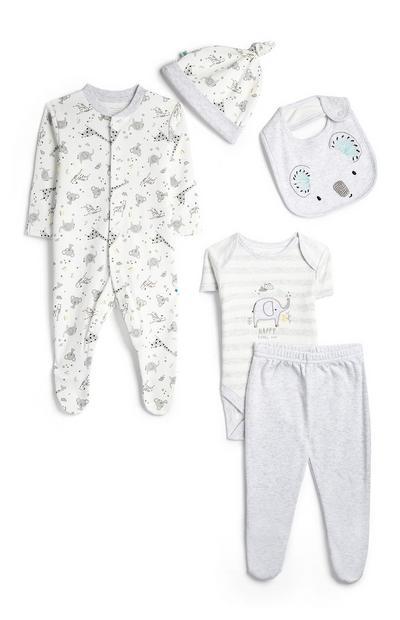 5-delig babysetje met safariprint