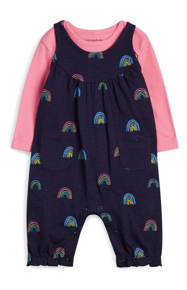 Newborn Baby Girl Blue Rainbow Romper Set