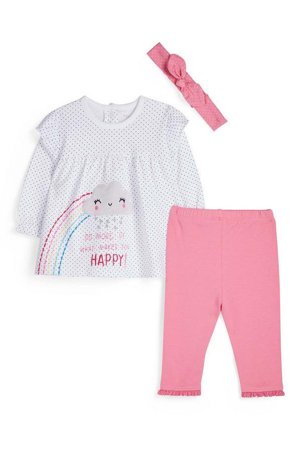 Babyset met haarband en regenboogprint voor meisjes, 3-delig