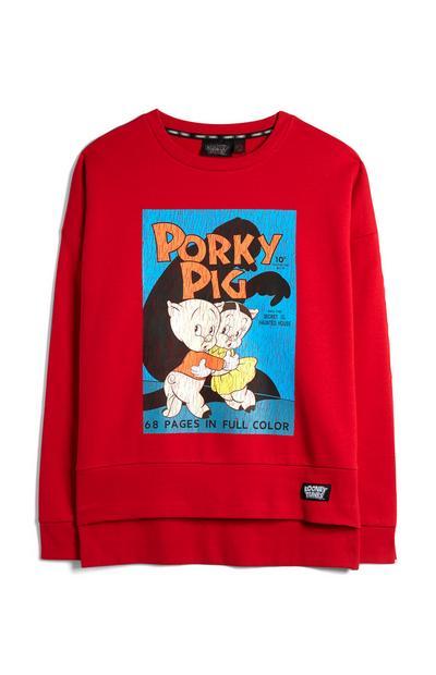 Red Looney Tunes Porky Pig Jumper
